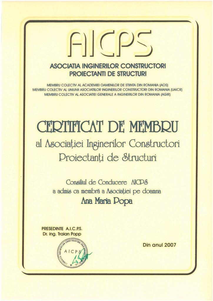 AICPS Certificat de Membru