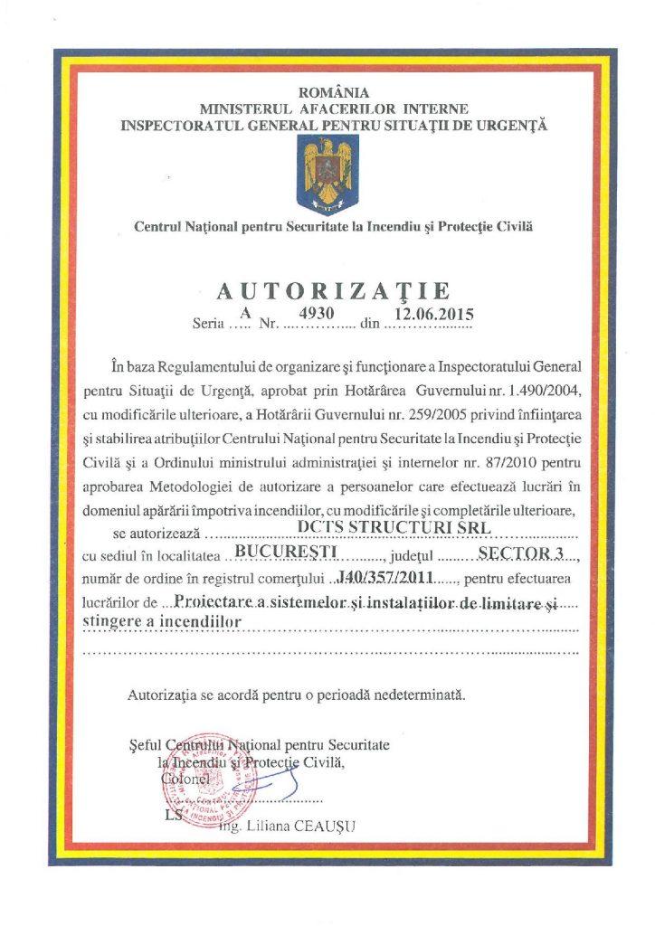 Autorizatie proiectare a sistemelor si instalatiilor de limitare si stingere a incendiilor
