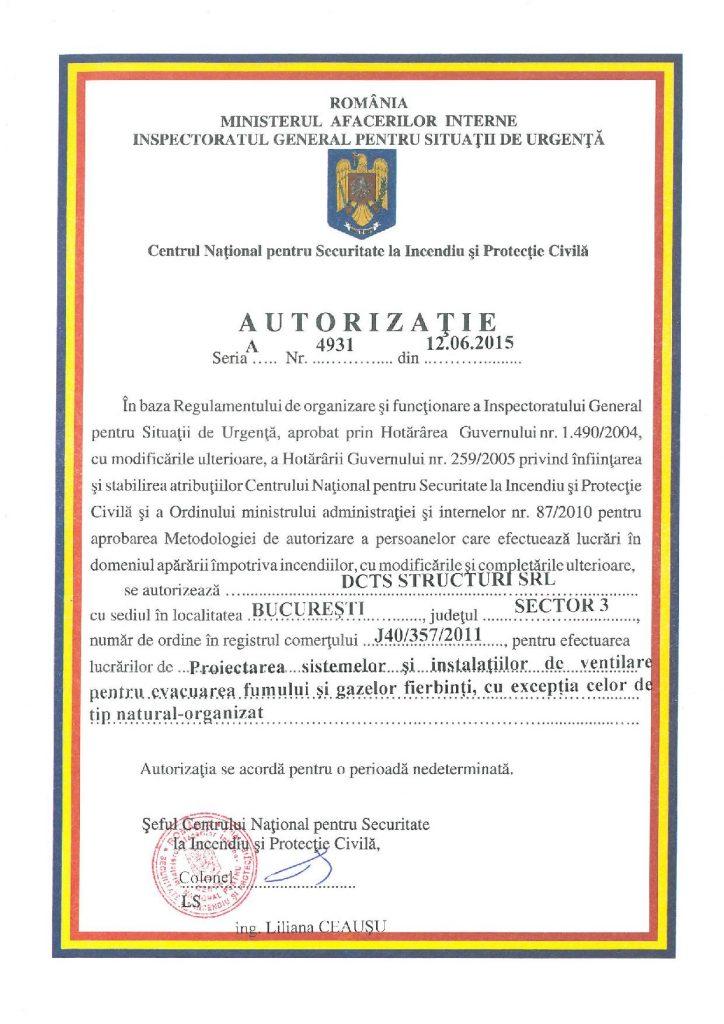 Autorizatie proiectarea sistemelor si instalatiilor de ventilare