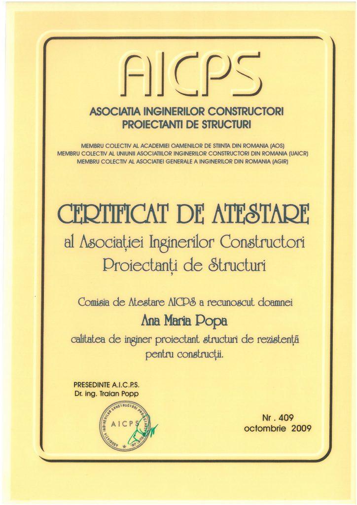 Certificare AICPS - inginer proiectant de structuri de rezistenta pentru constructii