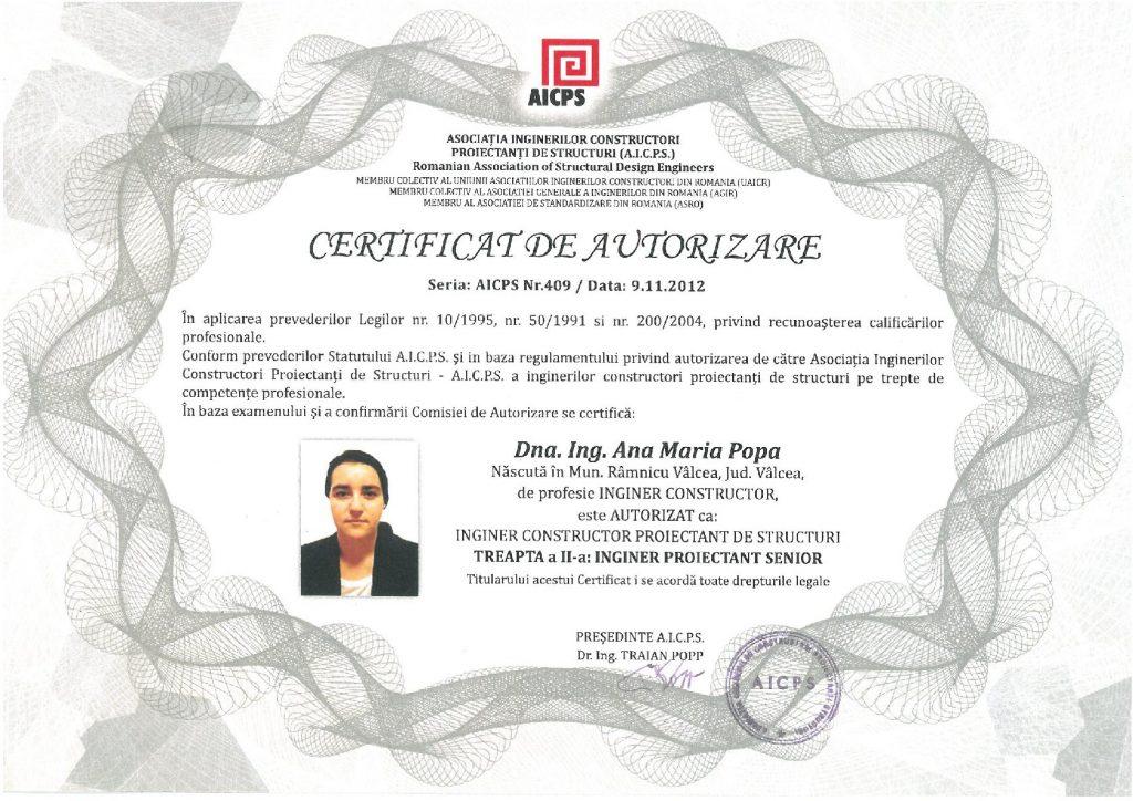 Certificat de autorizare (fata)