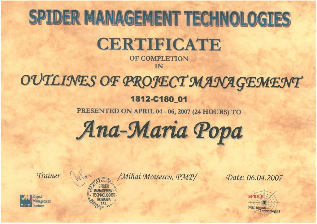 Outlines of Project Management Certification